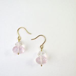 Rose quartz×Herkimer diamond Pireced earrings【14kgf】