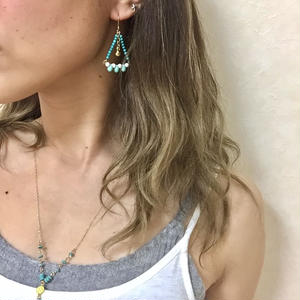 Turquoise triangle pierce