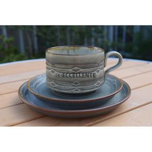 【北欧ヴィンテージ】【クイストゴー】ルーン コーヒーカップ&ソーサー&ケーキプレート3点セット