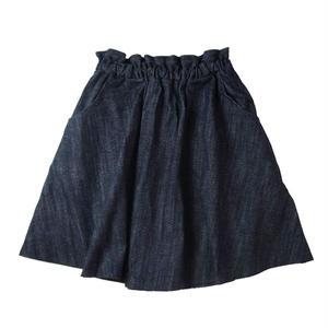 【Liv:ra】オーガニックコットン100%デニムハイウエストギャザーフレアスカート
