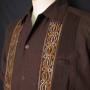 "サイズ 36(M)【IMP-ALAM-01S-BRG】IMPORT GUAYABERA  S/S   ""BROWN × GOLD"""