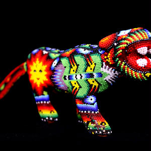 "HUICHOL BEADED ART ""JAGUAR"""