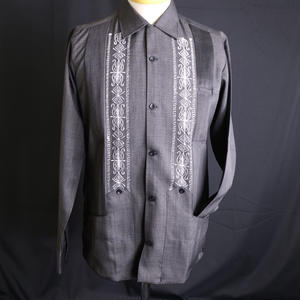 "[ESG01LPHB] POLYESTER L/S  HEATHER  BLACK ""ORIGINAL GUAYABERA"""