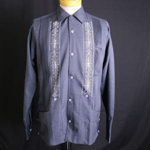 "[ESG01PLHN] POLYESTER L/S  HEATHER  NAVY × WHITE ""ORIGINAL GUAYABERA"""