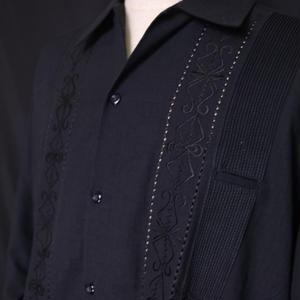 """【IMP-YUC-01L-B】IMPORT GUAYABERA  L/S   """"BLACK""""  サイズ40(XXL)"""