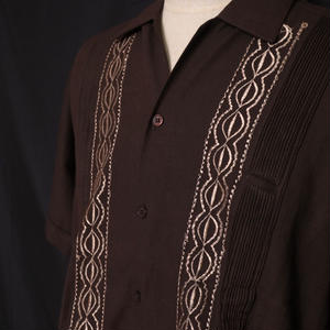 "サイズ36(M)【IMP-YUC-01S-BRG】IMPORT GUAYABERA  S/S   ""BROWN/GOLD"""