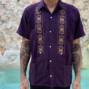 "[ESG-01S-PUW] S/S PURPLE x GOLD ""ORIGINAL GUAYABERA"""