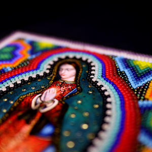 "HUICHOL BEADED ART ""GUADALUPE"""