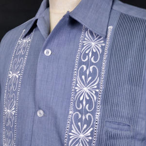 "[ESG-01SP-SAW] POLYESTER S/S  SAX × WHITE ""ORIGINAL GUAYABERA"""