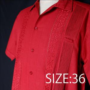 """サイズ36(M)【IMP-ALAM-01S-R】IMPORT GUAYABERA  S/S  """"RED"""""""