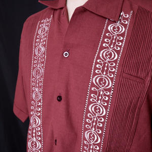"【IMP-MIX-01S-BUW】IMPORT GUAYABERA  S/S   ""BURGUNDY/WHITE""  サイズ36(M),38(L)"