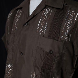 "サイズ36(M)【IMP-PIR-01S-BRW】IMPORT GUAYABERA  S/S   ""BROWN/WHITE"""