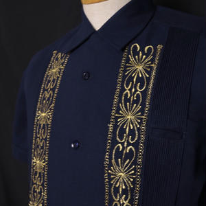 "[ESG01SNG] S/S NAVY/GOLD ""ORIGINAL GUAYABERA"""
