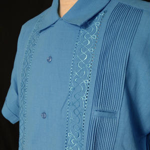 "【IMP-ANG-01S-TB】IMPORT GUAYABERA  S/S   ""TURQUISE BLUE""  サイズ40(XL)"