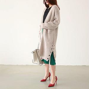 【Fcstyle】【送料無料】サイドの裾に編み込みがありちょっと個性的が可愛いガウン 秋冬 韓国ブランド 韓国ファッション ガーリー フェミニン