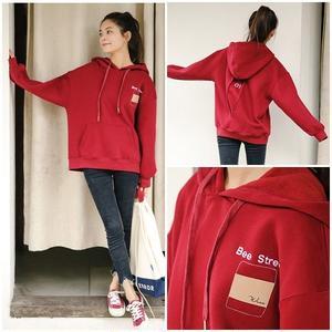 トップス パーカー レッド ロゴ 韓国ファッション カジュアル 0649