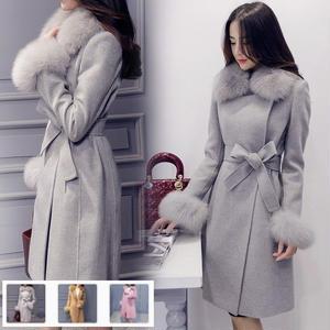 【Fcstyle】襟元や袖にボリュームがあるロング丈トレンチコート