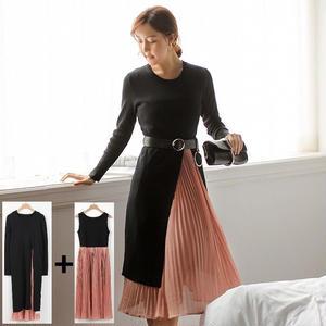 ドレスとセーターの2点セット ちらっと見えるプリーツスカートが可愛いミモレ丈ワンピース