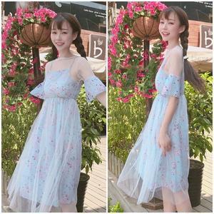 レース ワンピース 花柄 ブルー フレアスカート ひざ丈 1422