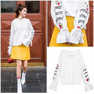 トップス 長袖 Tシャツ 袖リボン デザイン袖 ホワイト 0616
