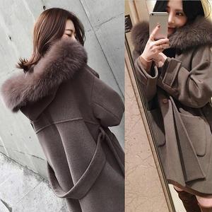 【Fcstyle】【送料無料】フードに付いたファーが可愛い、秋冬カラーのロング丈ジャケット