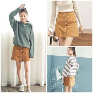 ミニスカート ショートスカート ブラウン 台形スカート フレアスカート 0658