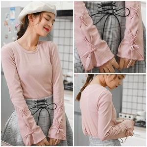ニット セーター 袖リボン デザイン袖 レースアップ 編み込み ピンク 0705