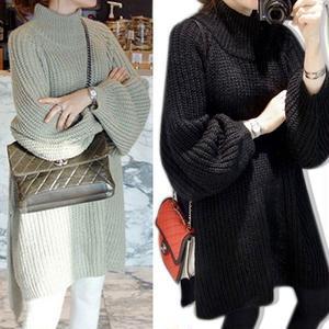 バルーンスリーブとゆったりフィットがかわいいゆるかわロング丈セーター