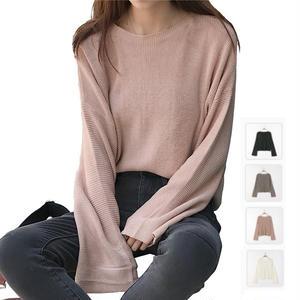 【Fcstyle】【送料無料】広がったバルーンスリーブとゆったりとしたフィット感が可愛いゆるかわニットセーター