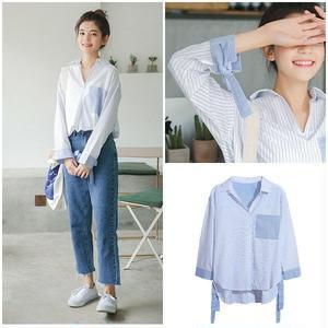 トップス ブラウス 袖リボン デザイン袖 ストライプ 韓国ファッション 0653