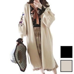 袖の花柄の刺繍と膨らんだデザインがかわいいゆるかわロング丈カーディガン
