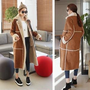 韓国ファッション風のモコモコがかわいいロング丈ムスタンコート 0021