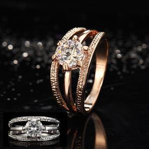 【Fcstyle】【送料無料】オーストラリアンクリスタルを使用したエレガントなリング 指輪 結婚指輪 ゴールド シルバー エレガント 大人可愛い