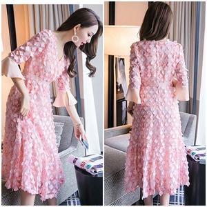 ドレス ワンピース 花柄 デザイン袖 ピンク レース  0759