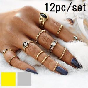 【Fcstyle】【送料無料】12点セットリング フィンガーリング 指輪 ガーリー フェミニン カジュアル オシャレアイテム 大人可愛い ゴールド シルバー
