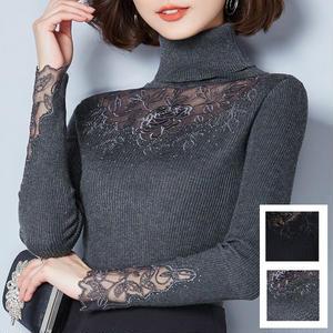袖や肩、胸に花柄レースが入ったエレガントなセーター