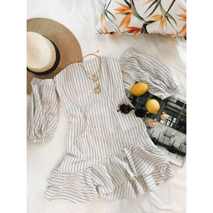Back Lace-up Stripe Mini Dress