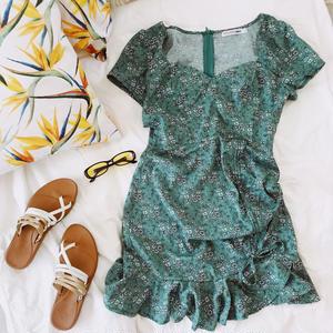 Mint Flower Mini Dress