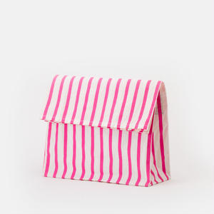 PAPER BAG/white ×pink stripe