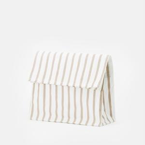 PAPER BAG/white ×grey stripe