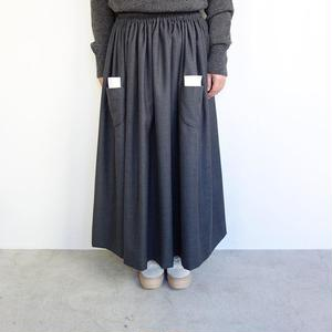 homspun ウールサージ タブルポケットギャザースカート