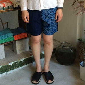 Slow Hands Vegetable dye flower print sashico shorts