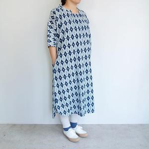 Slow Hands Indigo block print STD collar dress