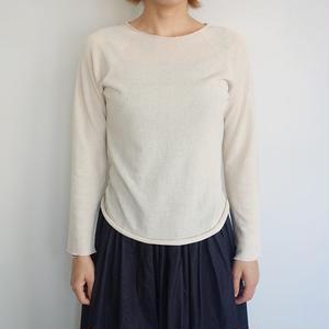 F/style ホールガーメントの綿ニット(丸首・長袖)