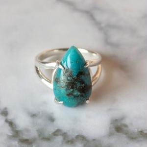 天然トルコ石(ターコイズ)シルバーリング7.13ct|9号 アリゾナ州・キングマン産☆原石から磨きました