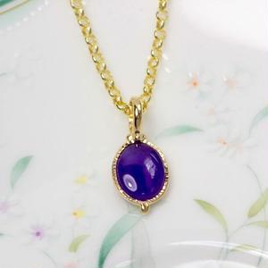 神秘的な紫色がキレイ!天然スギライトネックレス1.19ct☆18KGP☆ハンドメイドジュエリー1点もの