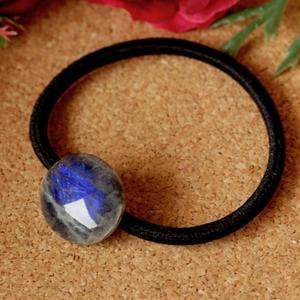 天然ラブラドライトのヘアゴム(黒)原石から磨きました