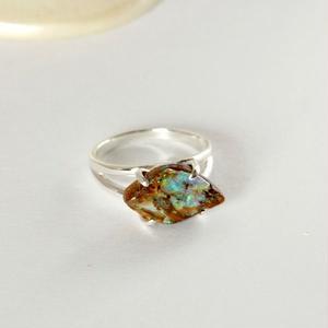 天然ボルダーオパール原石シルバーリング|12号☆青、緑色の遊色がキレイ!