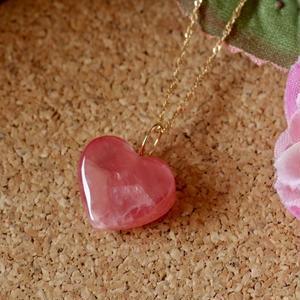 天然ロードクロサイトK18ネックレス33.03ct☆濃いピンク色が可愛い