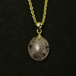 天然モルガナイトゴールドネックレス5.02ct☆原石から磨いた1点もの